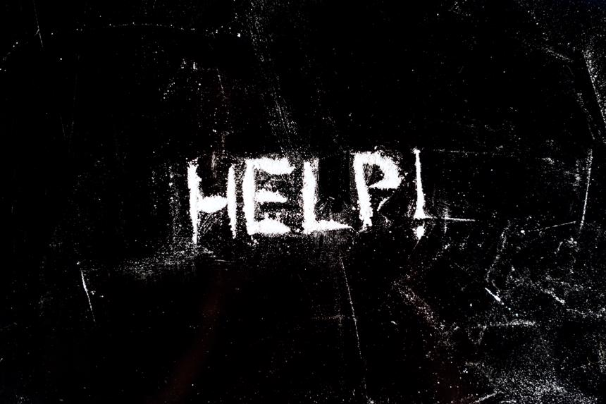 "The word ""help"" written in cocaine."